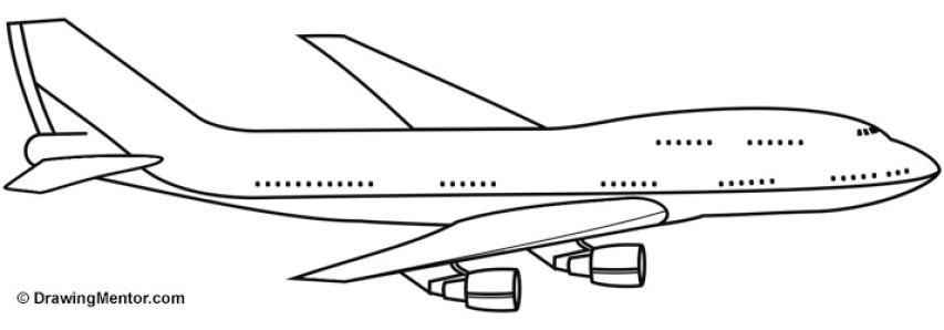 Line Drawing Jet : How to draw a plane tutorial