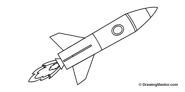 Line Art Rocket : How to draw a rocket ship tutorial