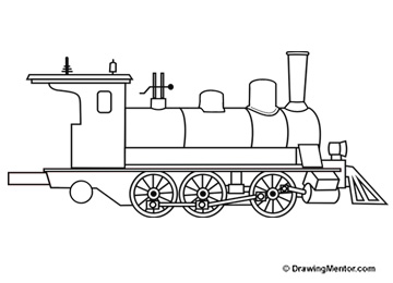 how to draw a steam train